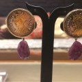 Victorian Queen Coin Rose Tone Drop Earrings